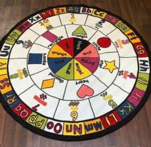 NEW MULTI LEARNING CHILDREN'S CIRCLE 133X133CM MAT RUG SCHOOL HOME MULTICOLOUR